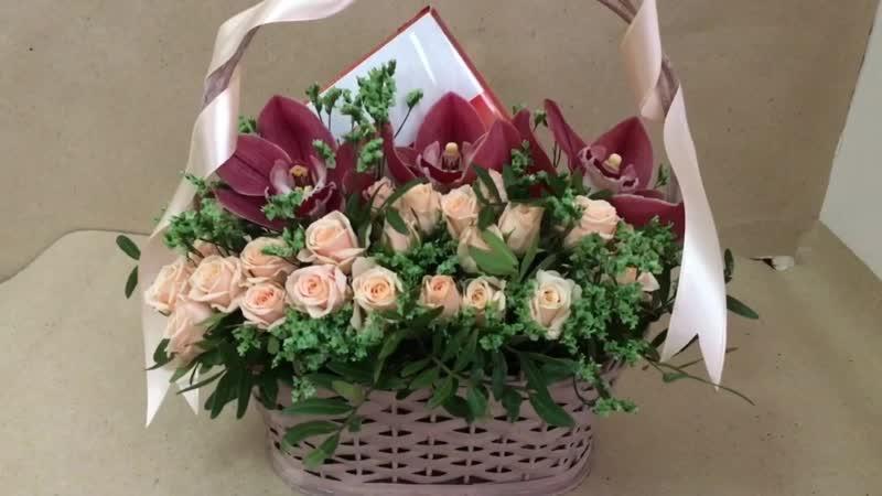 Корзина с цветами и сладостями Анатомия страсти