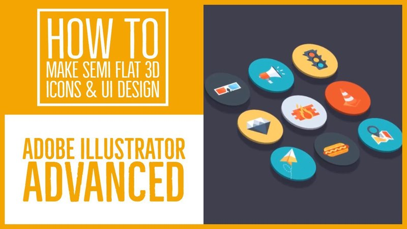 How to make Semi flat 3D icons UI design Illustrator Advanced Training 39 53