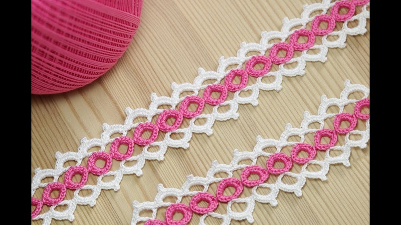 Вязание крючком ленточного кружева на основе колечек crochet ribbon lace pattern