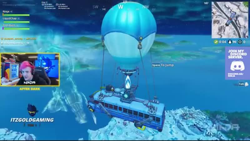 Ninja смотрит как замерзает остров Fortnite mp4