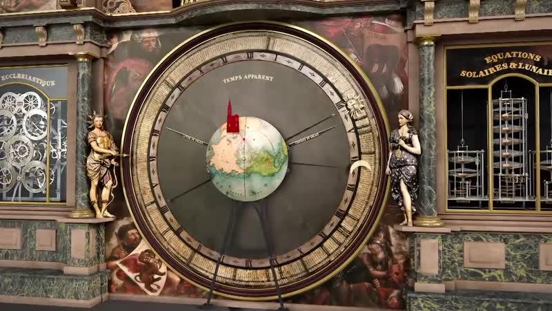 1547 по 1574 г. Астрономические часы Страсбургского кафедрального собора (схема работы часов, комп. графика).
