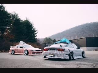 Drift Vine   Nissan Silvia S13 & 180sx New Year's drift on the street
