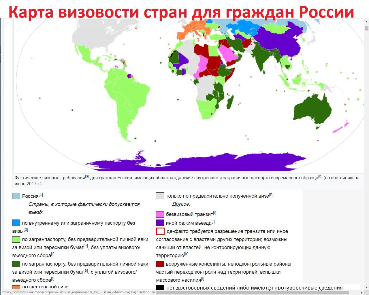 Карта степени визовости стран для граждан России
