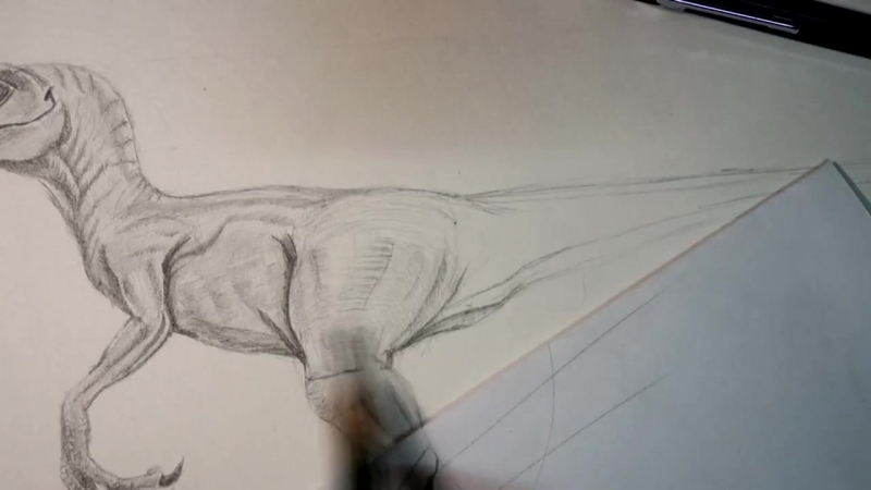 Как нарисовать динозавра Велоцираптор Шаг за шагом карандашом