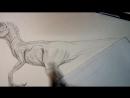 Как нарисовать динозавра Велоцираптор. Шаг за шагом карандашом.