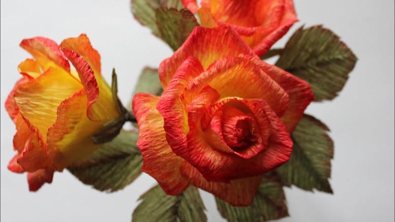 Розы из бумаги DIY Roses with crepe paper