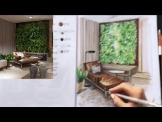 вертикальное озеленение СКЕТЧ интерьера