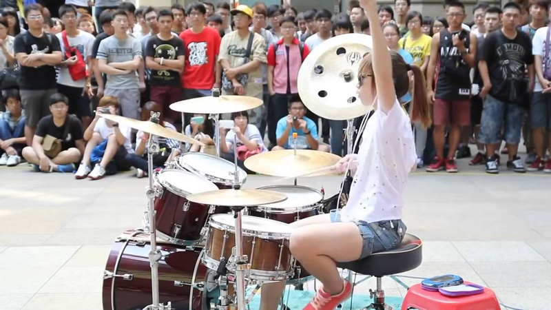 FANTASTIC BABY Big Bang by S WHITE Drummer Chica Baterista