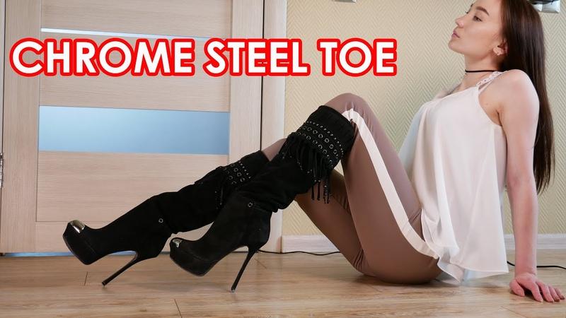 Christina's Gianmarco Lorenzi chrome steel toe high heels platform boots Size 37,5 US 7,5 Suede