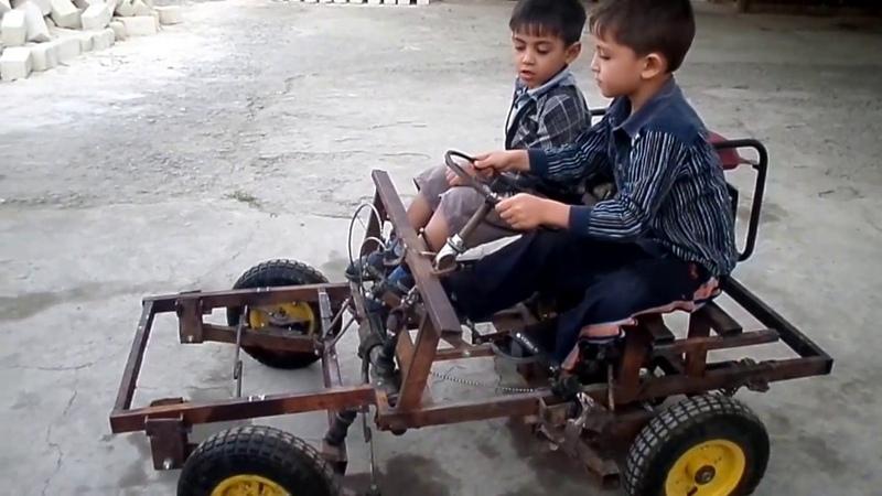 Uşaq avtomobili benzin mühərliki ilə, işıq generatoru ilə, test (Samir Usta)