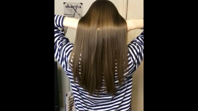 Кератиновое восстановление-выпрямление волос, состав с волос смыт ,волосы высушенны феном без утюжка🙈🔥