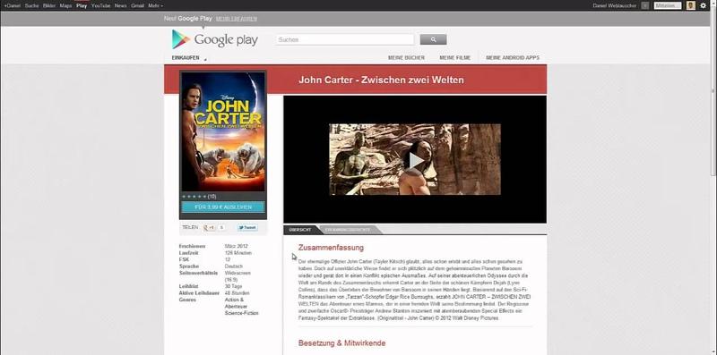 Filme im Google Play Store ausleihen und ansehen