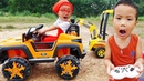 Car for kids Power wheels car parking challenge with Dave Mario and brother very fun outdoor play
