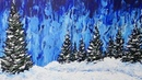 Palette Knife Painting Winter Pines Acrylic Painting with Abstract Background