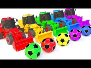 Collection Video : Colors for Children to Learn With Bulldozer Truck - Street Vehicles -Soccer Ball