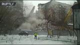 Видео снос стены, повреждённой при обрушении подъезда в Магнитогорске