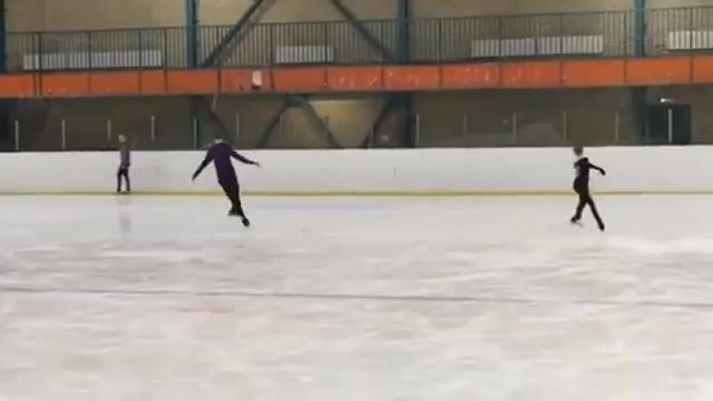 Трусова и Ерохов синхронно исполнили четверной прыжок