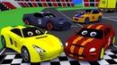 Гоночные машинки будут соревноваться в кольцевых автогонках. Мультфильм для маленьких.