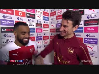 Alexandre Lacazette giving Laurent Koscielny his man of the match award in the post-match interview