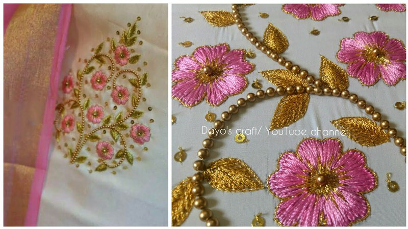 Aari work embroidery flower filling stiches butta design on chudidhar blouse saree