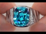 GIA Certified Men's Cartier FLAWLESS Natural Blue Zircon Diamond 14k White Gold Gents Ring