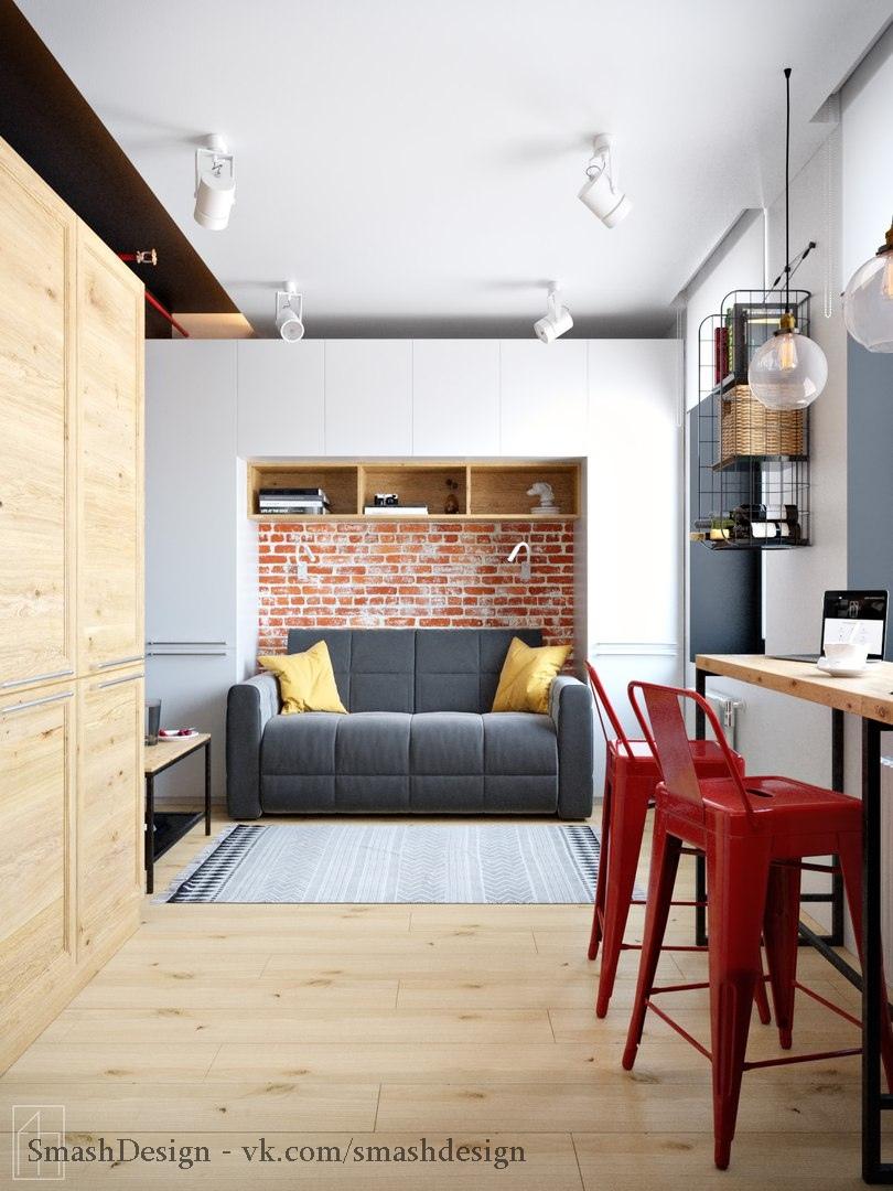 Крошечная квартира-студия, площадь 19 кв.