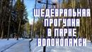 Прогулка в зимнем парке с малышом, в городе Волоколамск. На улице солнечная и теплая погода.