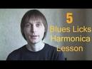 Губная гармошка. 5 блюзовых ликов для вашего соло. 5 Blues Licks Harmonica Lesson.