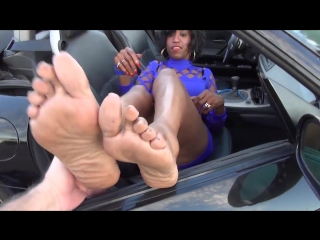 57 year old ebony mature woman candid big soles ( size 11)