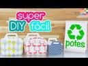Potes de sorvete e margarina decorado ☀️Reciclagem | Organizador DIY