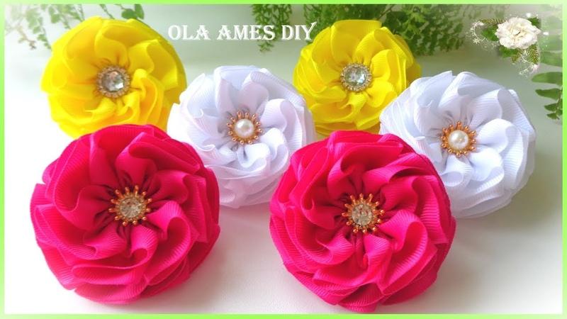Канзаши Цветы из репсовой ленты Kanzashi Grosgrain Ribbon Flower Flores de Fita Ola ameS DIY
