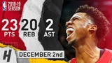 Hassan Whiteside Full Highlights Heat vs Jazz 2018.12.02 - 23 Pts, 2 Ast, 20 Rebounds!