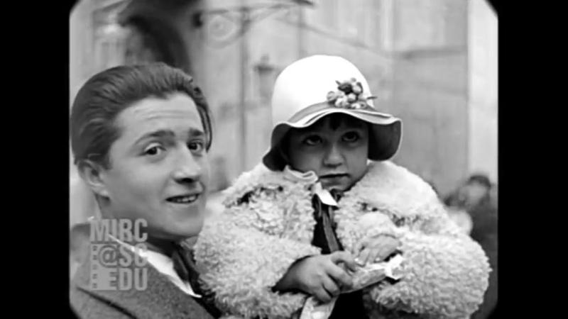 Ян. 1929 Дети ждут кардинала в Риме, Италия, настоящий звук