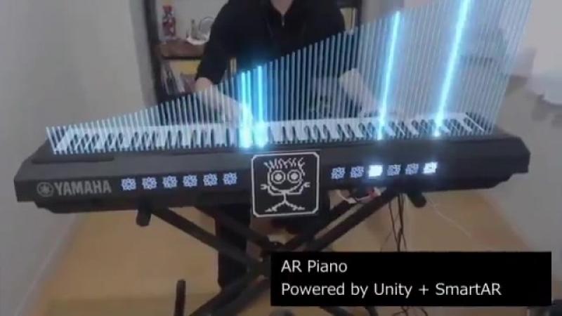 ピアノに AR するシステムを作ってみた。リアルタイム連動なのでモニターを見ながら演奏すると楽しい。Unity SmartAR