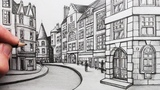 How to Draw Buildings in Perspective A Street in Edinburgh