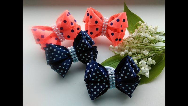 Бантики из репсовых лент 2,5 см. МК Канзаши / The bow of REP ribbons 2.5 cm. MK Kanzashi