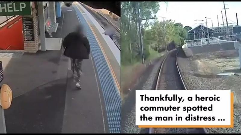 Спасение мужчины, упавшего на рельсы прямо перед прибытием поезда