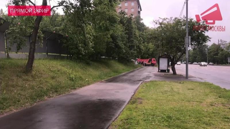 На Кравченко 16 в Москве приехали спиливать незаконно установленные дорожные знаки LIVE 19.06.18
