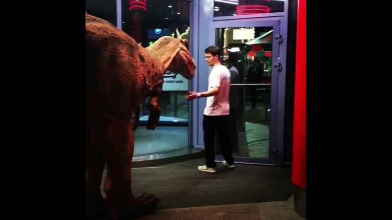 Динозавр гуляет по ТРЦ Глобал Сити. Москва 2018
