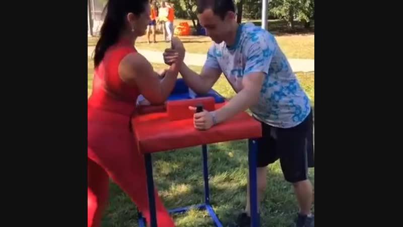 The stronger women Arm wrestling