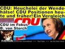 CDU-Heuchelei! Wendehälse: CDU heute und früher - ein Vergleich * Von Storch (AfD) * HD