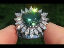 GIA Certified VVS Natural Green Sapphire Diamond 14k White Gold Engagement Cocktail Ring A131377