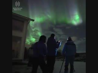 Наблюдая за красочным полярным сиянием ( Норвегия, 7.10.2018)