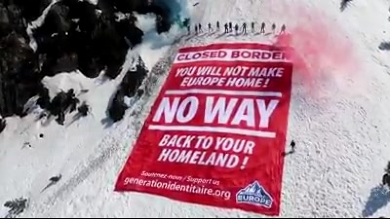 Generation Identity blocks the Franco-Italian border crossing.
