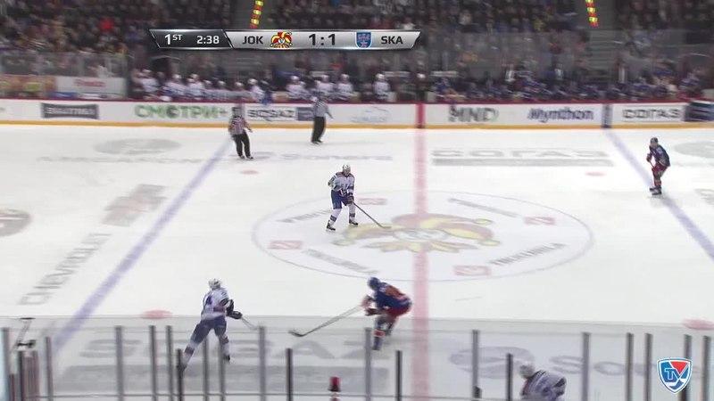 Моменты из матчей КХЛ сезона 14/15 • Удаление. Джимми Эрикссон (СКА) наказан малым штрафом за опасную игру высоко поднятой клюшк
