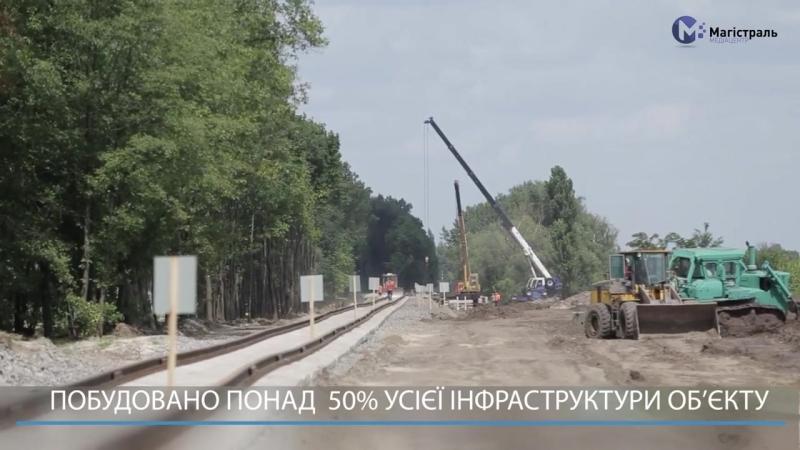 Високі темпи будівництва лінії швидкісного залізничного сполучення між Києвом та аеропортом Міжнародний аеропорт Бориспіль.