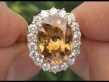 Certified 7.55 ct Natural VVS Yellow Zircon Diamond 14k Yellow Gold Estate Ring - C954