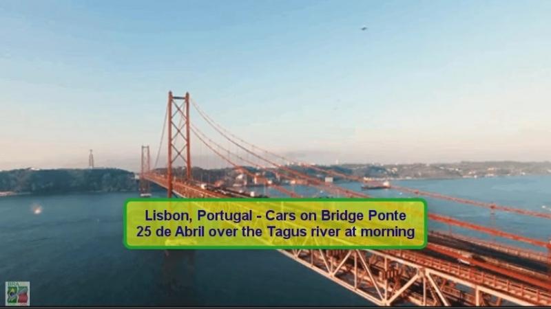 29-Lisbon, Portugal - Cars on Bridge Ponte 25 de Abril over the Tagus river at morning