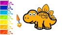 Раскраска Стегозавр / Learn colors Drawing Stegosaurus for kids