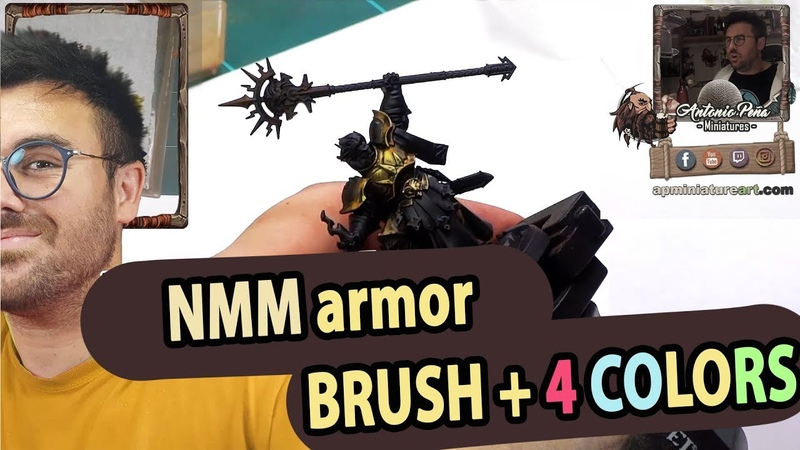 (Nighvault y AoS) How to paint a NMM armor using ONLY BRUSH and 4 COLORS 🥇 [almost lol] !!